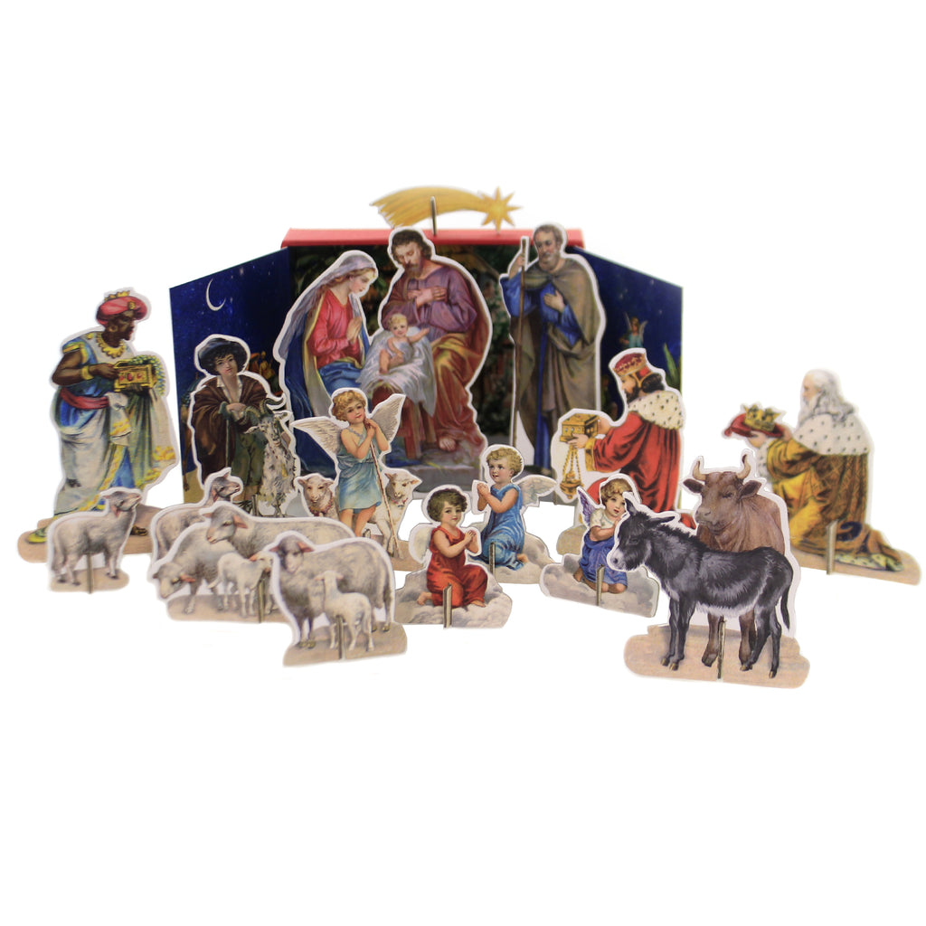 Christmas FREE STANDING NATIVITY SCENE Cardboard The Birth Of Baby Jesus 71351
