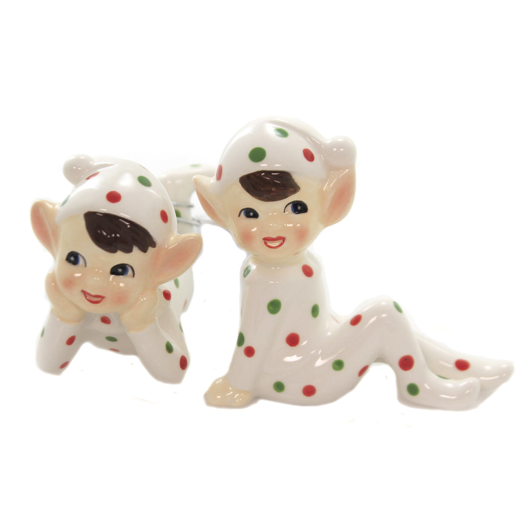 Christmas SPOTTED ELFIN FIGURINES Ceramic Whimisical Cs0139