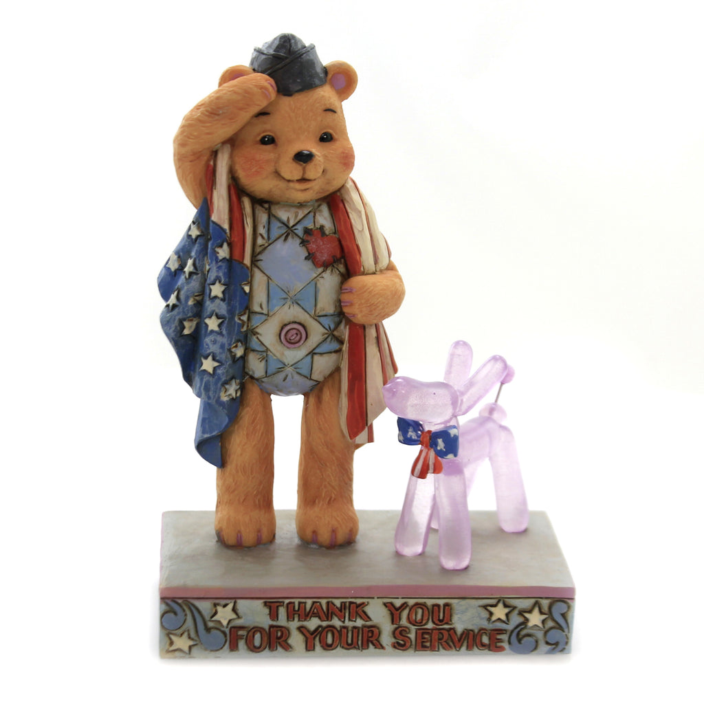 Jim Shore THANK YOU FOR YOUR SERVICE Polyresin Teddy Bear Balloon Dog 6005121