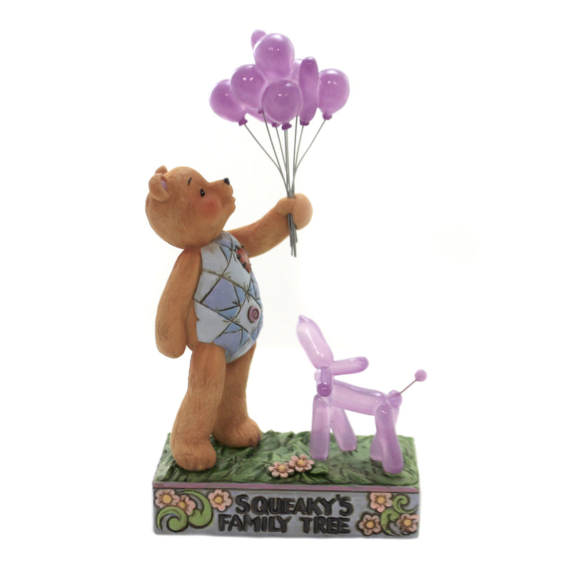 Jim Shore SQUEAKY'S FAMILY TREE Teddy Bear Balloons Dog 6005127