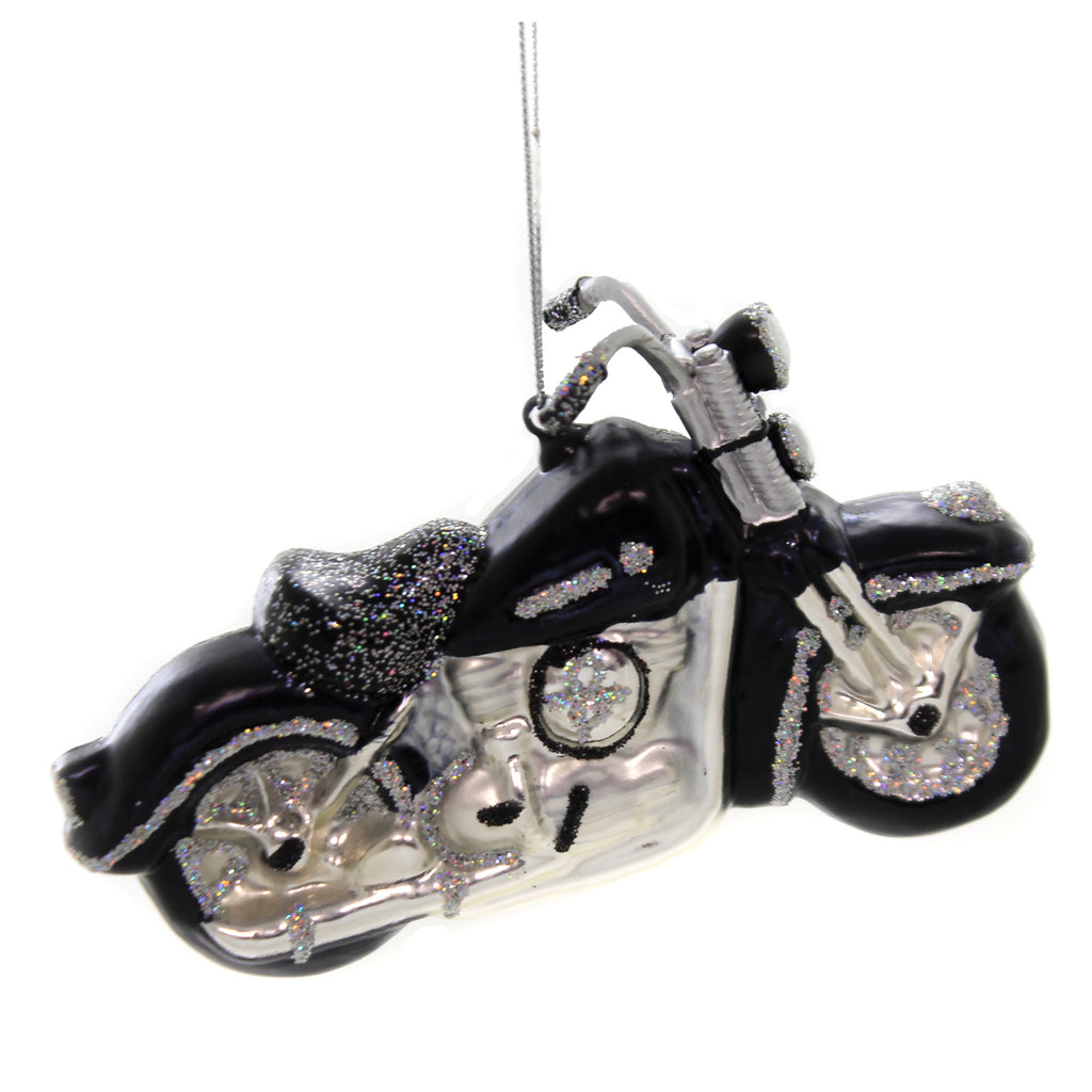 Holiday Ornaments MOTORCYCLE SILVER & BLACK Glass Wild Free Td1360