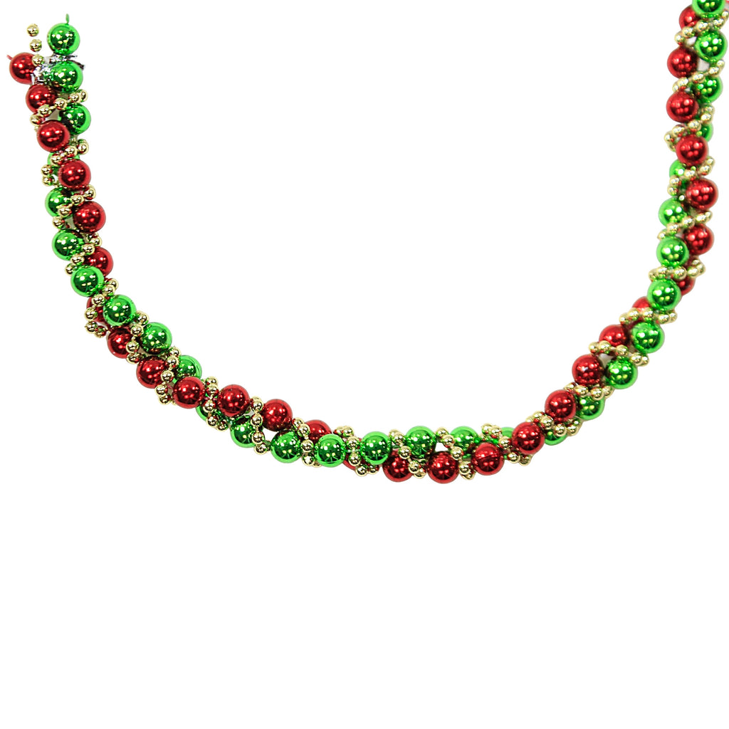 Holiday Ornaments RED GREEN GOLD TWISTED BEAD Plastic Garland H9490rggo