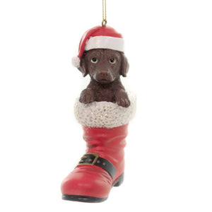 Holiday Ornaments LABRADOR RETRIEVER SANTA BOOT Pet Parade D3449lb Brown