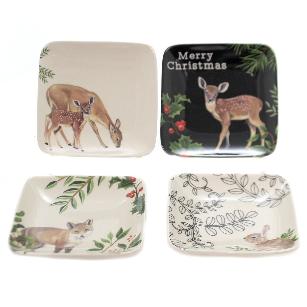 Tabletop WOODLAND ANIMAL DISHES SET/4 Stoneware Holiday Xm4078a