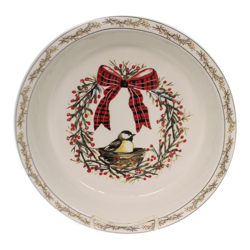 Tabletop BIRDS & BERRIES PIE DISH Stoneware Holiday Gathering Xm0379