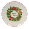 Tabletop WREATH & BIRDS PLATTER Ceramic Round Christmas Xm3927