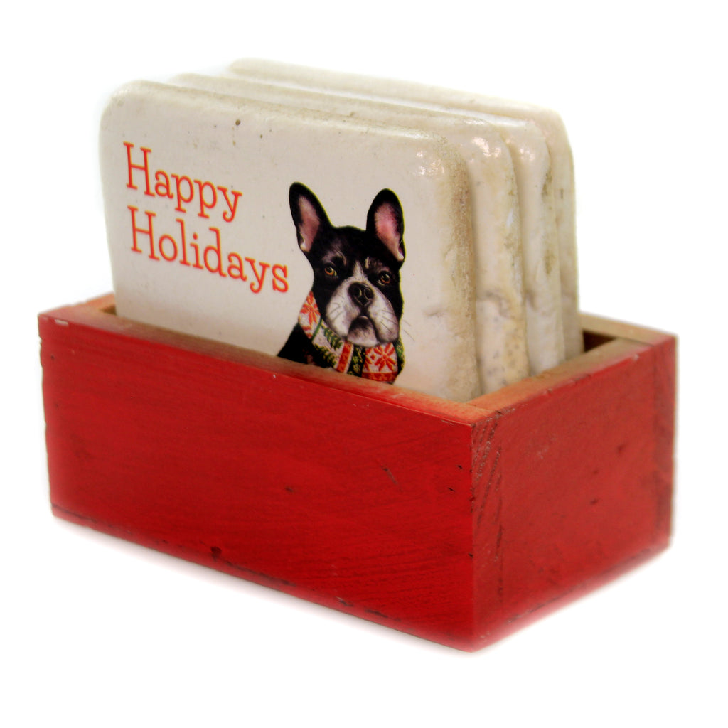 Tabletop DOG COASTERS IN WOOD BOX Polyresin Christmas Rustic Xm3792
