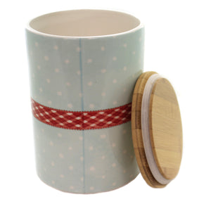 Tabletop WARM WISHES CANISTER BAMBOO LID Ceramic Hand Wash Only Xm3924