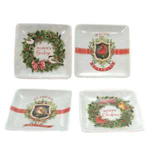 Tabletop BIRD CERAMIC DISHES SET/4 Ceramic Christmas Season Greetings Xm3929