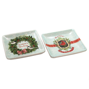 Tabletop SEASON GREETINGS DISH SET/2 Ceramic Christmas 3929Xm