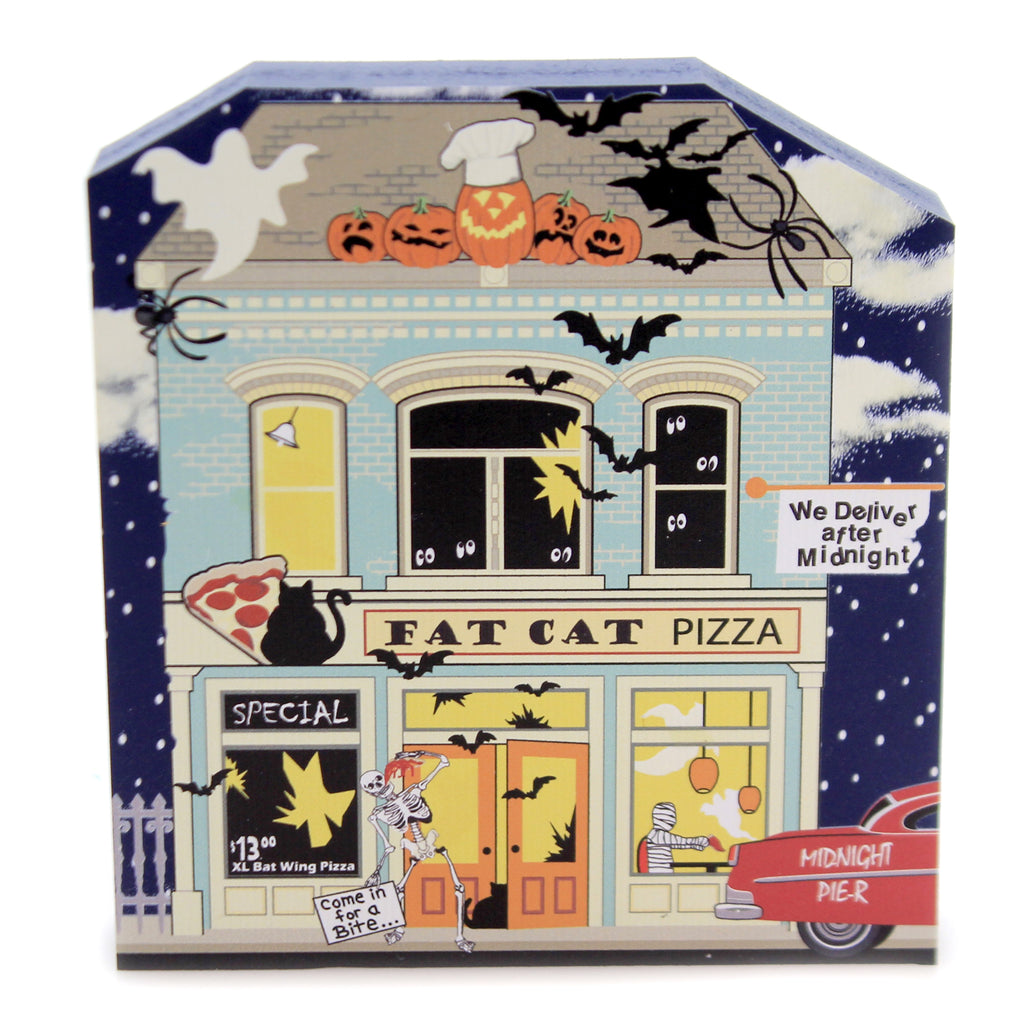 Cats Meow Village FAT CAT PIZZERIA Wood Midnight Pier 19632