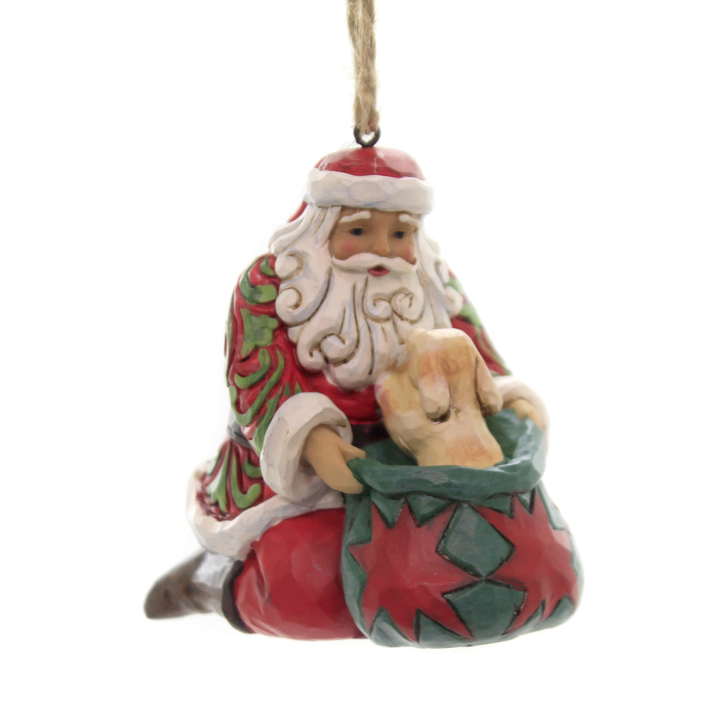Jim Shore SANTA WITH DOG IN BAG Polyresin Ornament 6003358