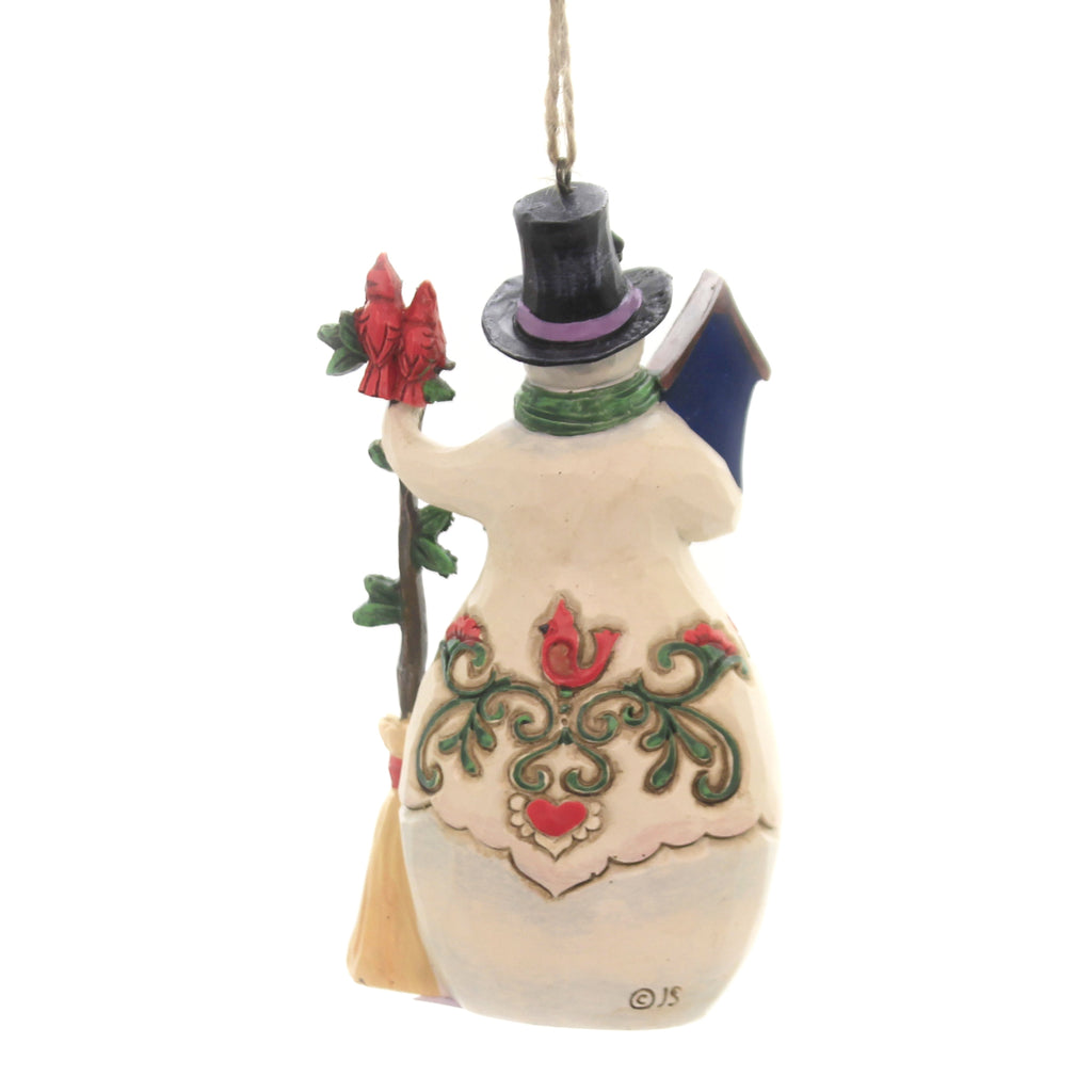 Jim Shore SNOWMAN CARDINALS BIRDHOUSE Polyresin Ornament 6005313