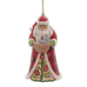 Jim Shore SANTA WITH CAT IN BASKET Polyresin Ornament 6003357
