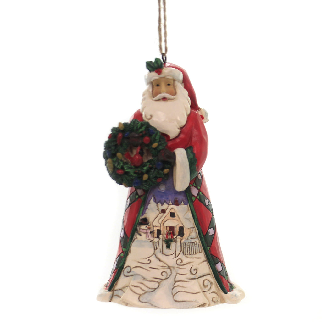 Jim Shore SANTA WITH WREATH & SCENE Polyresin Ornament 6005310