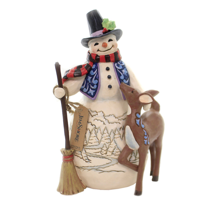Jim Shore A WONDERLAND AMONG FRIENDS Polyresin Snowman Deer 6005913