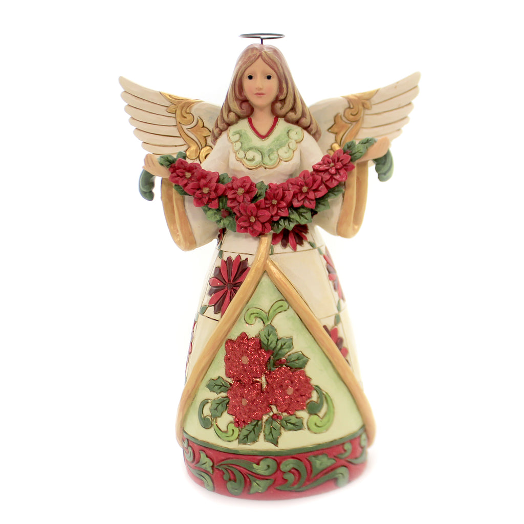 Jim Shore WINTER BEAUTY IN BLOOM Polyresin Angel Poinsettia 6002902