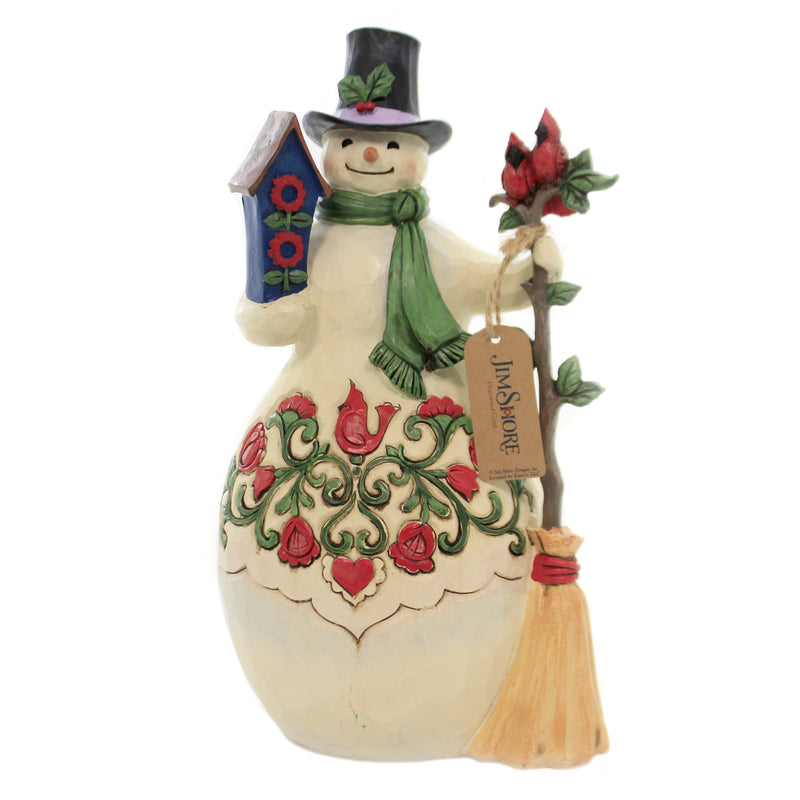 Jim Shore HOME TWEET HOME FOR HOLIDAYS Polyresin Snowman Cardinal 6005249