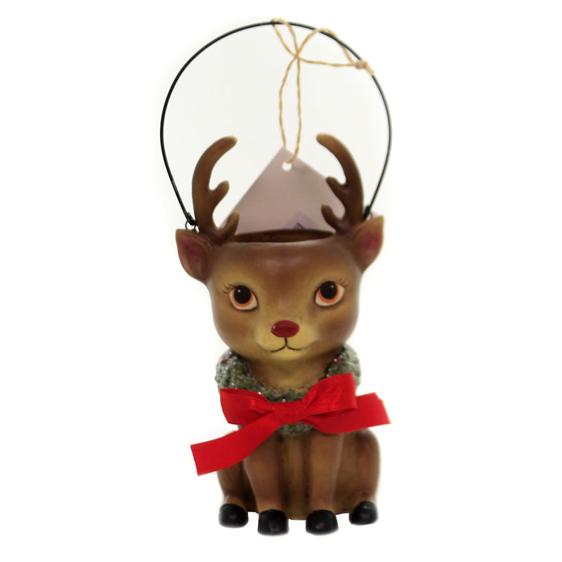 Christmas REINDEER BUCKET HEAD Polyresin Wire Handle Wreath Tj8682