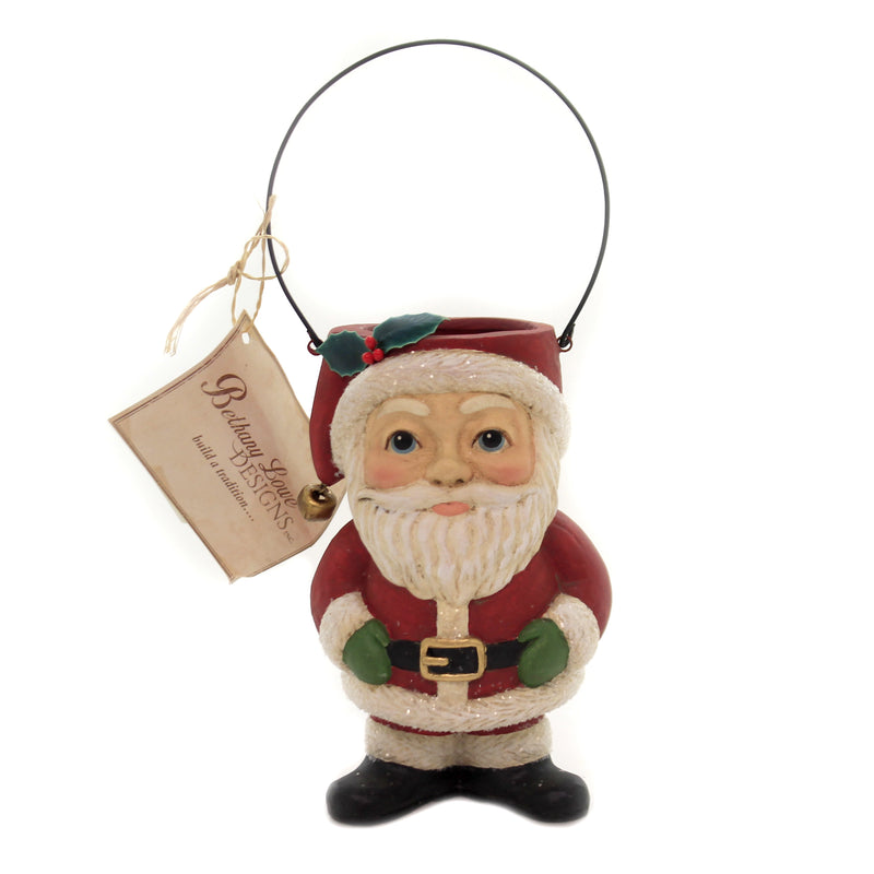 Christmas SANTA BUCKET HEAD Polyresin Wire Handle Claus Tj8680