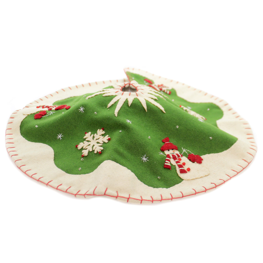 Christmas RETRO SNOWMAN TREE SKIRT Fabric Applique Rl8953