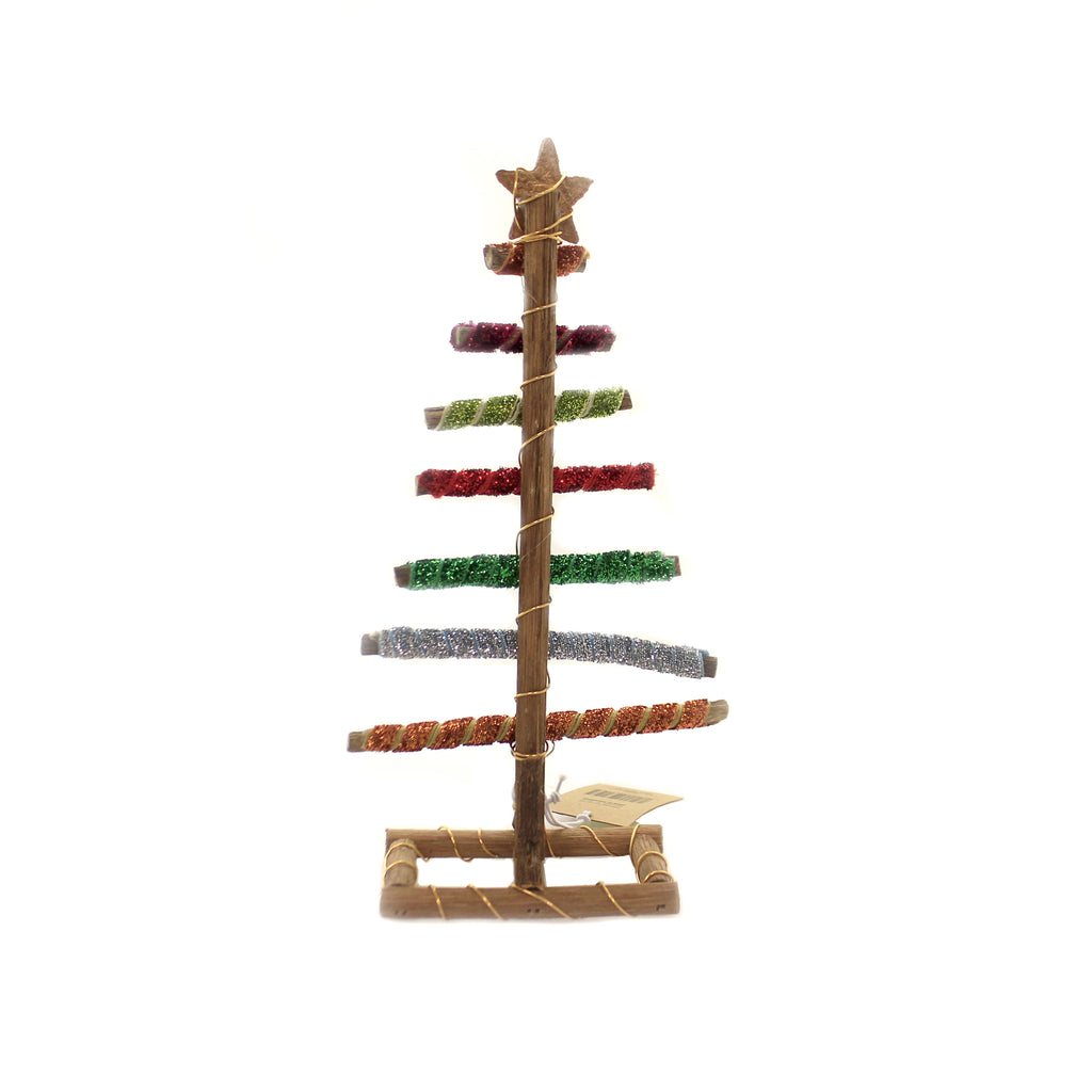 Christmas WRAPPED LOG TREE SM Wood Gilttered Ribbon Xm3490