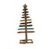 Christmas WRAPPED LOG TREE MED Wood Glittered Ribbon Xm3489