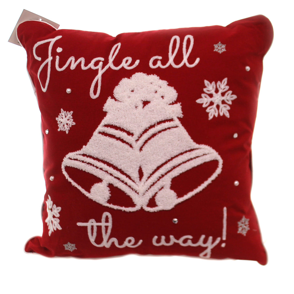 Christmas JINGLE ALL THE WAY PILLOW Fabric Bells Snowflakes 86032315