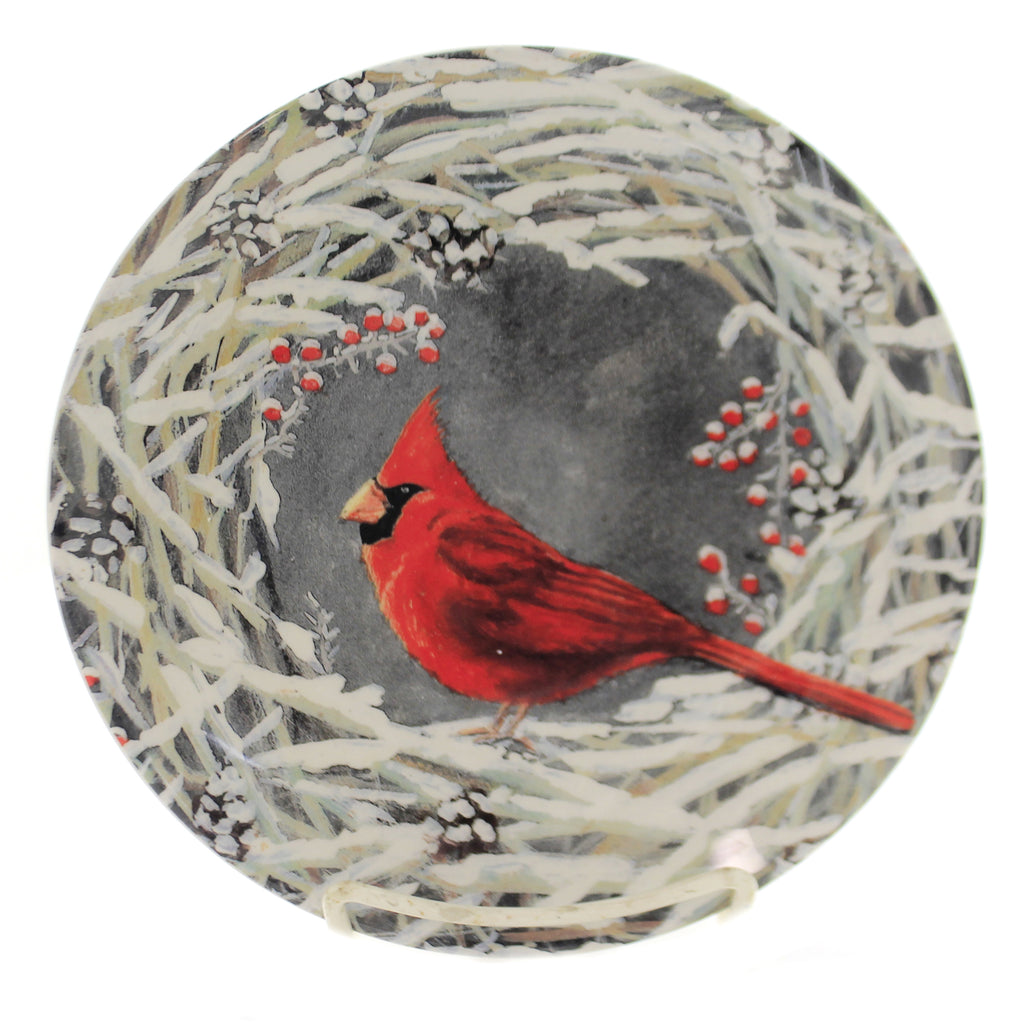 Tabletop CARDINAL/BRANCH SALAD PLATE Ceramic Christmas Winter Red Bird Rtc19205