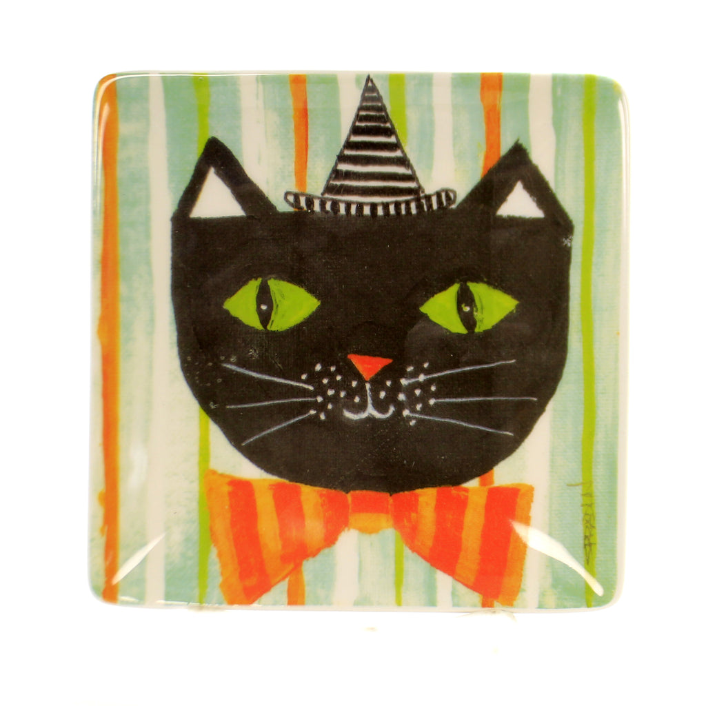 Tabletop BOWTIE CAT PLATE Ceramic Halloween Rtf18111
