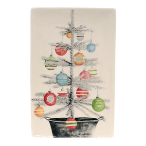 Tabletop VINTAGE TREE PLATTER Ceramic Christmas Rtc19203