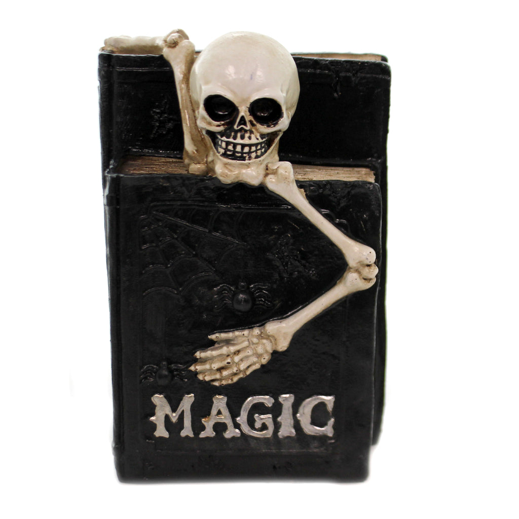 Halloween SKELETON ON MAGIC BOOKS Polyresin Spider Web Bones Hrz258