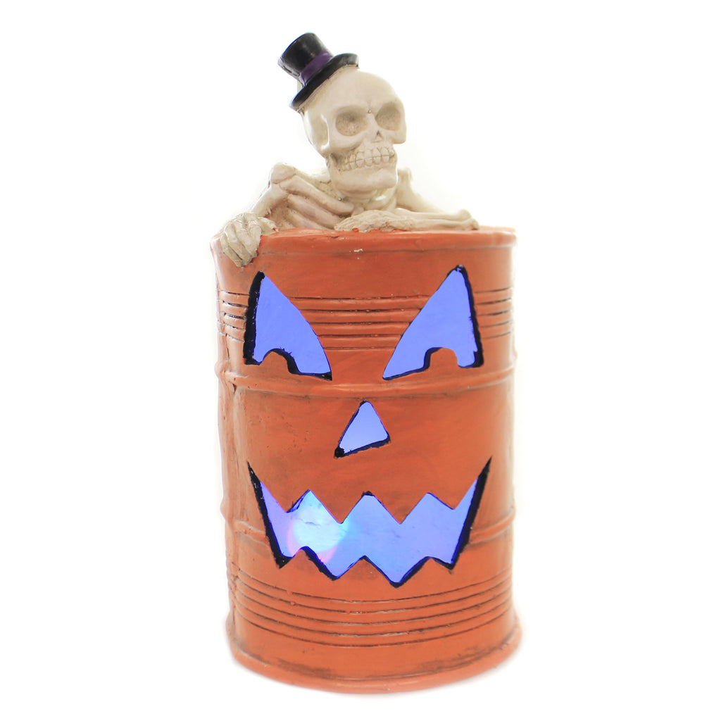 Halloween SKELETON IN OIL DRUM Polyresin Led Light Bones Rh442