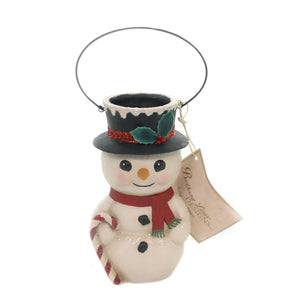Christmas SNOWMAN BUCKET HEAD Polyresin Carrot Nose Candy Cane Tj8681