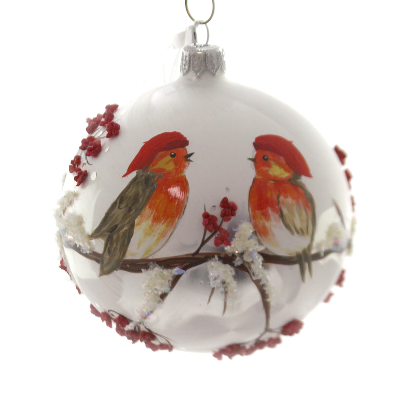 Christina's World CHICKS & WINTER BERRIES Glass Bird Christmas Ornament Bir328