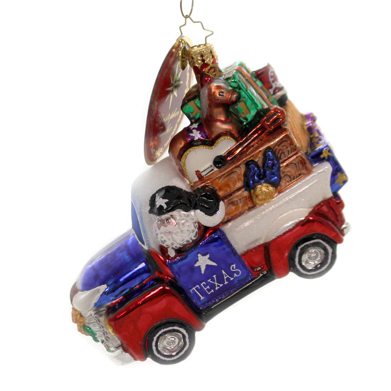 Christopher Radko TEXAS TREASURES! Glass Santa Delivery Car Ornament 1019838