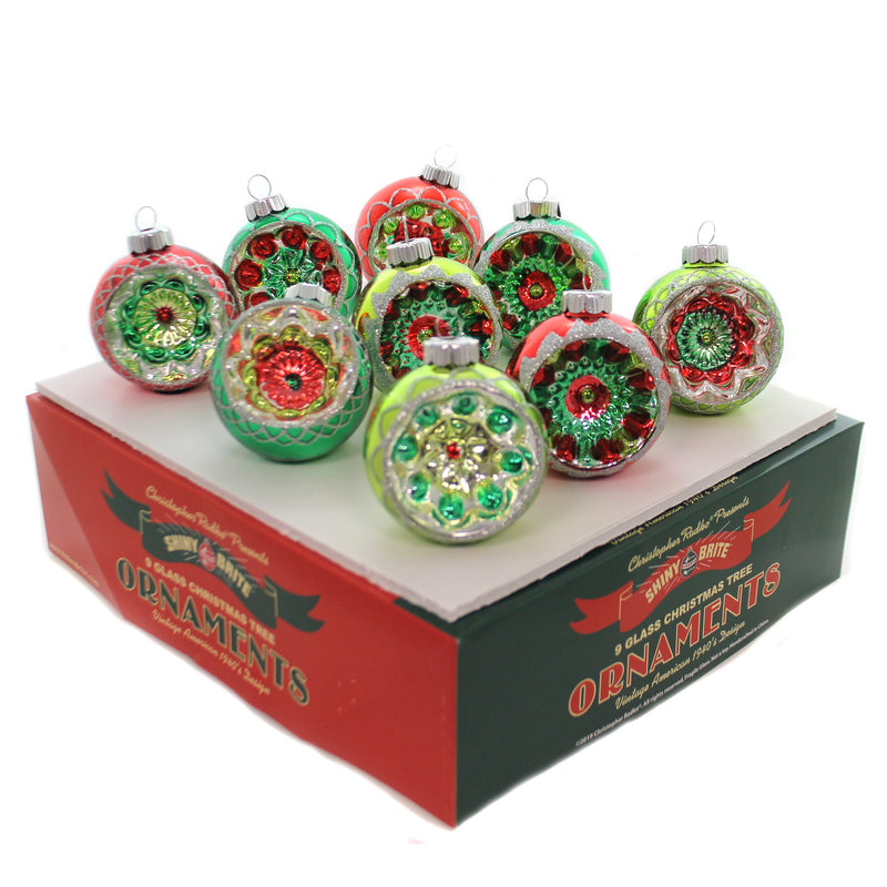 Shiny Brite HS REFLECTOR ROUNDS. Glass Holiday Splendor 4027713.