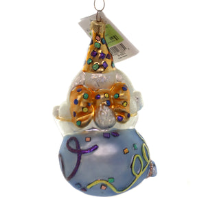 Christopher Radko BUBBLY BUNNY Glass Ornament New Years Celebration 995080