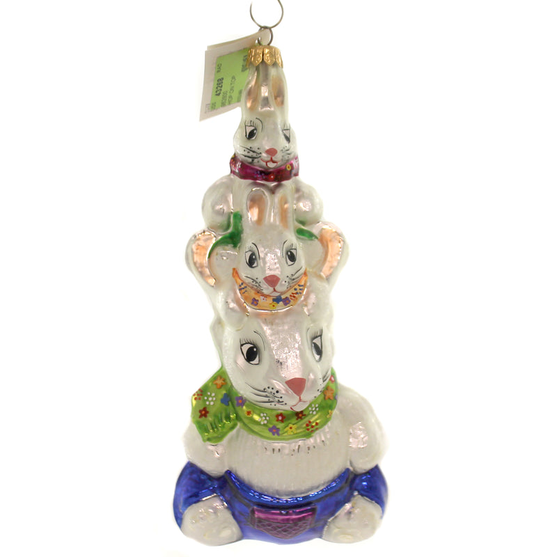 Christopher Radko HOP ON TOP. Glass Ornament Bunny Rabbit Easter 982800.