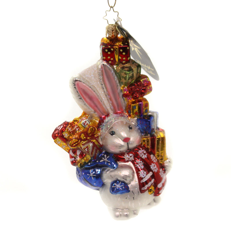 Christopher Radko CUDDLE BUNNY CACHE. Glass Ornament Christmas Rabbit 1014839.