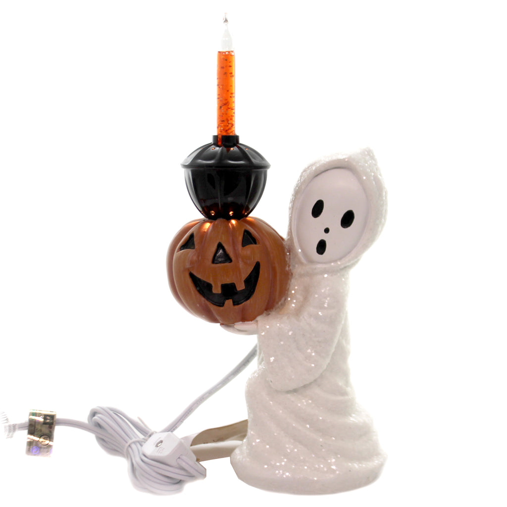 Halloween GHOST BUBBLE LIGHT Polyresin Pumpkin Electric Jg4741