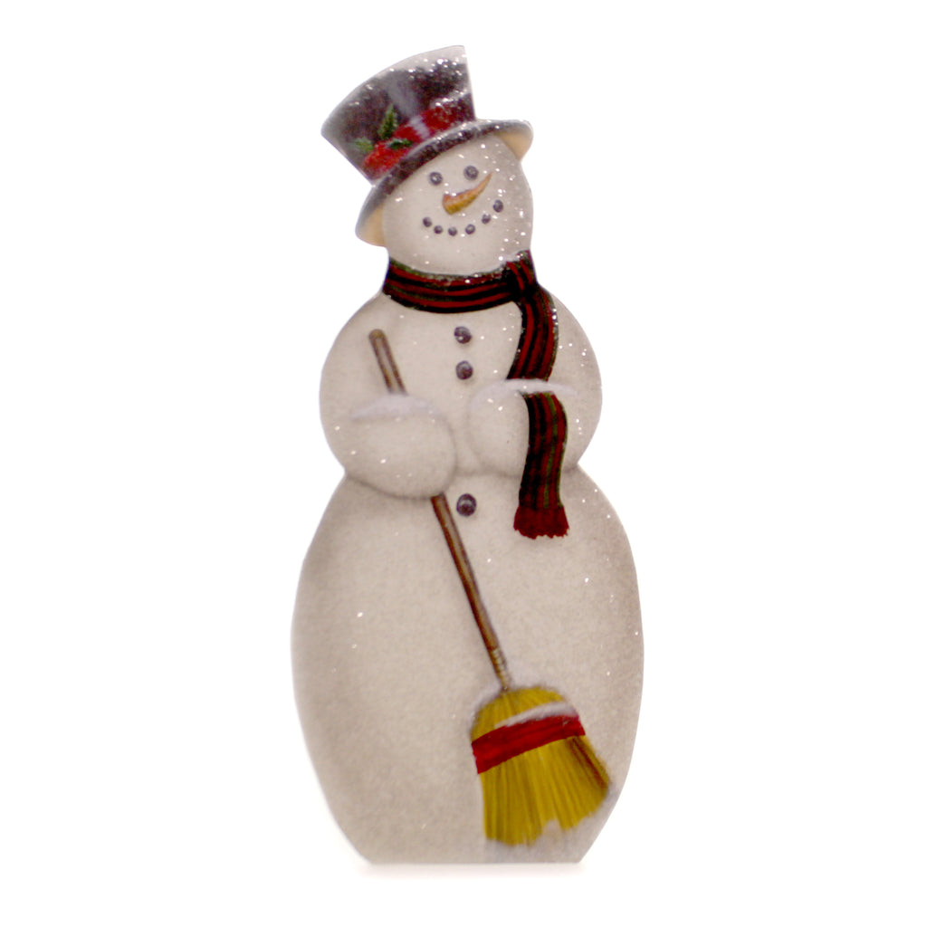 Christmas HOLLY JOLLY SNOWMAN DUMMY BOARD Wood Top Hat Carrot Nose Broom Bb8835