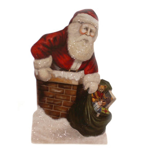 Christmas ON THE ROOF TOP DUMMY BOARD Wood Santa Claus Chimney Bb8831