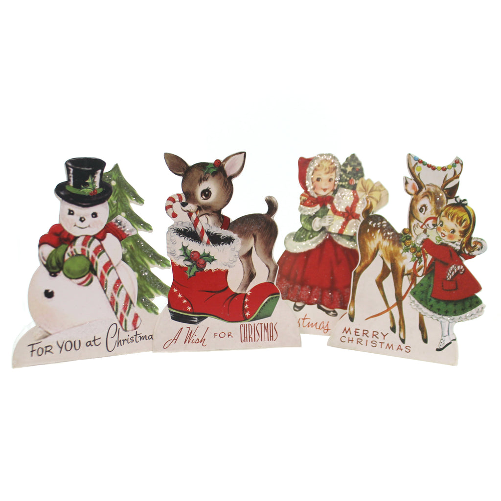 Christmas RETRO CHRISTMAS FRIENDS Wood Reindeer Snowman Rl8149