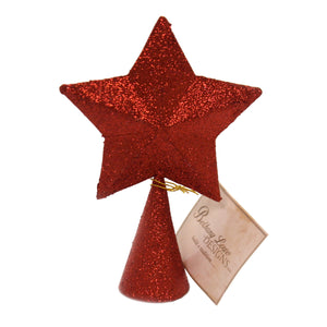 Christmas RED GLITTER STAR TREE TOPPER Paper Finial Lc8392