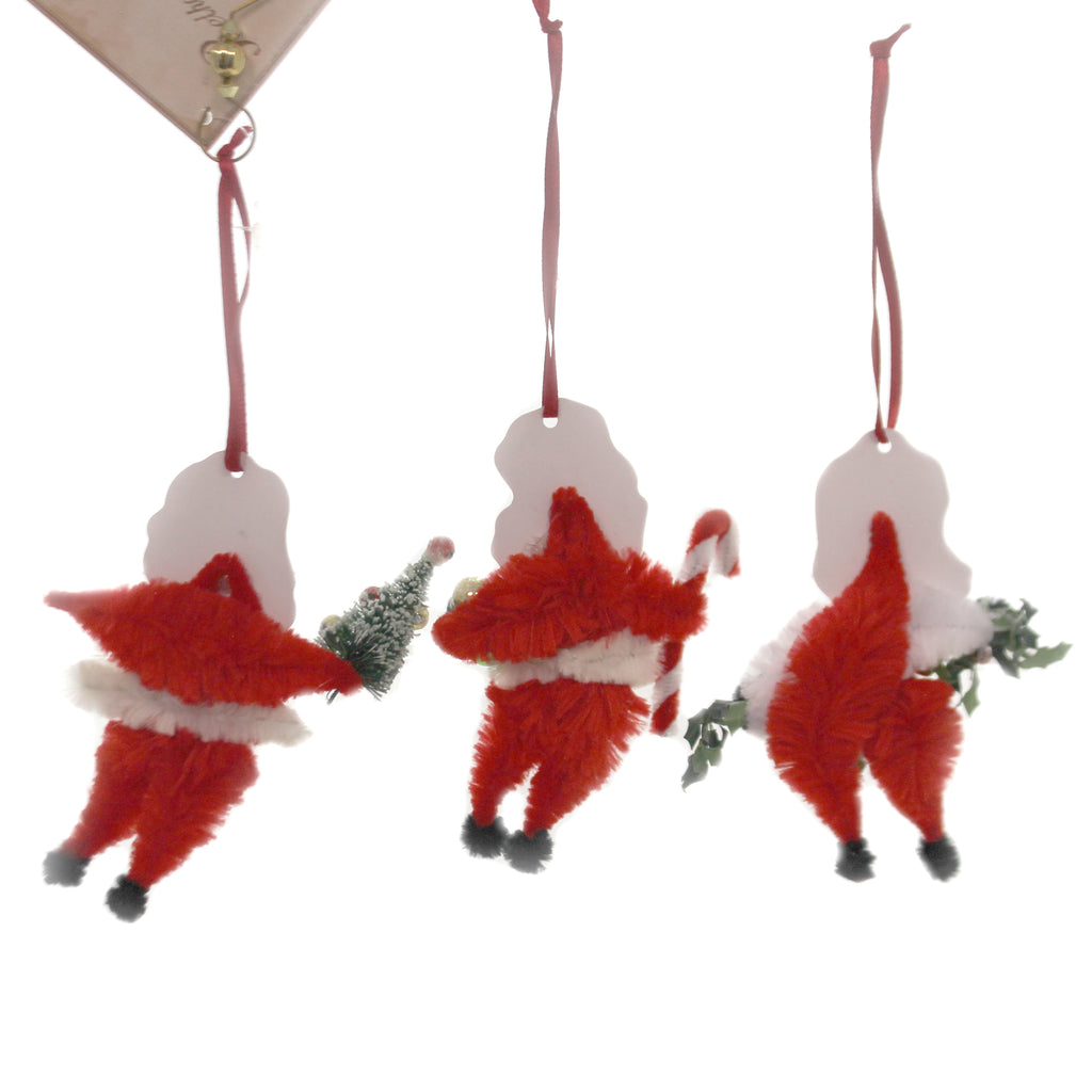Holiday Ornaments CHENILLE SANTA ORNAMENTS Bells Candy Cane Tree Lo8198