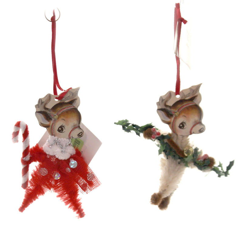 Holiday Ornaments CHENILLE REINDEER ORNAMENT Chenille Candy Cane Garland Lo8200