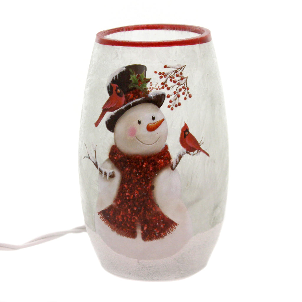 Stony Creek SNOWMAN & RED SCARF w CARDINALS Indoor Use Red Birds Light Up Elb9204