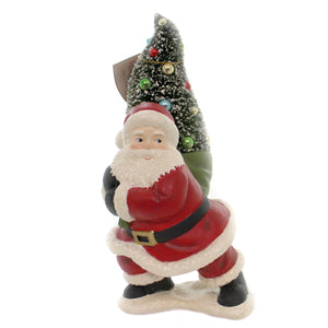 Christmas MERRY & BRIGHT SANTA WITH TREE Polyresin Tradition Holiday Tl8752