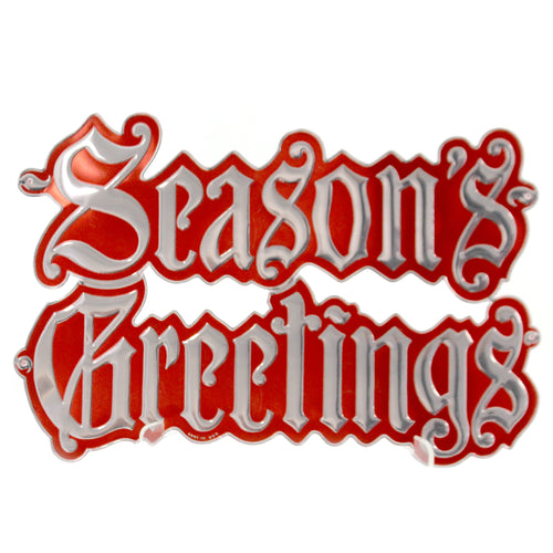 Christmas SEASONS GREETINGS FOIL DIE CUT Paper Unused Embossed Sign 56892103